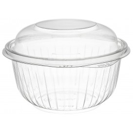 "Plastic Hinged Salad Bowl PET ""PresentaBowls"" High Dome Lid 475ml (75 Units)"