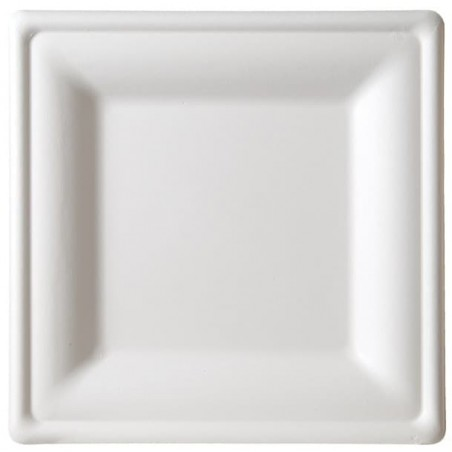 Plato Cuadrado Caña de Azucar Blanco 260x260mm (40 Uds)