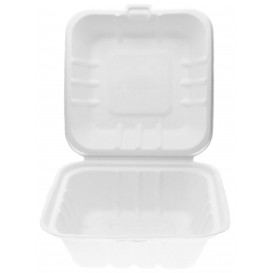 Sugarcane Burger Box White 15x15x8cm (50 Units)
