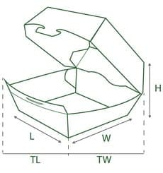 Caja Kraft para Hamburguesa 14x13x7 cm (25 Uds)