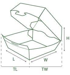 Caja Kraft para Hamburguesa XXL 15,5x15,5x8 cm (25 Uds)