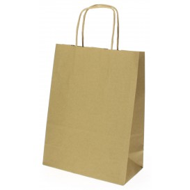 Paper Bag with Handles Kraft Hawanna 100g 18+8x24cm (50 Units)