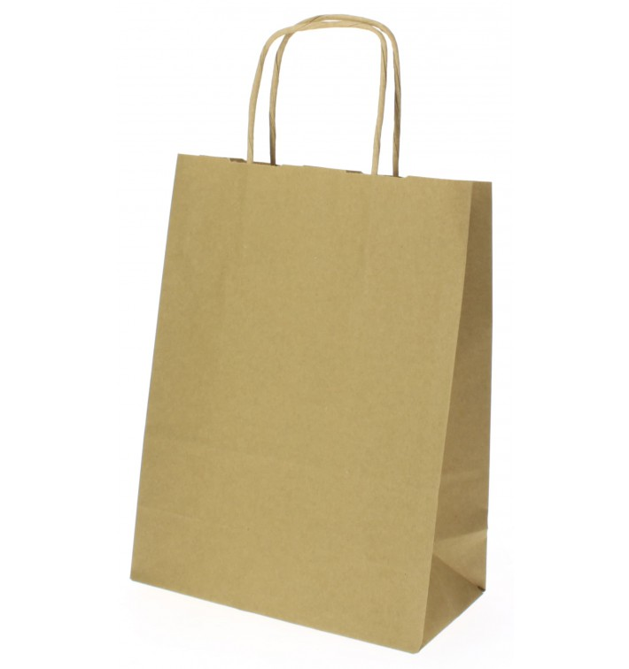 Paper Bag with Handles Kraft Hawanna 100g 18+8x24cm (50 Units)