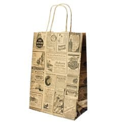 "Paper Bag with Handles Kraft ""Times"" 80g 20+10x29cm (250 Units)"