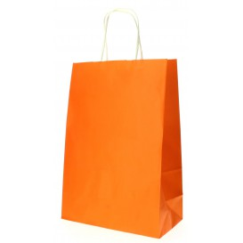 Paper Bag with Handles Orange 80g 20+10x29cm (25 Units)