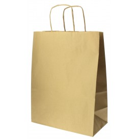 Paper Bag with Handles Kraft Hawanna 100g 24+12x31cm (250 Units)