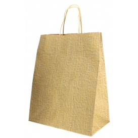 Paper Bag with Handles Kraft 80g 26+14x32cm (50 Units)