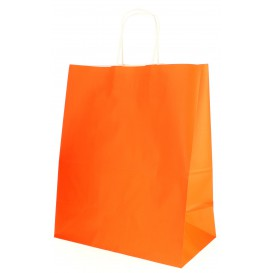 Paper Bag with Handles Orange 80g 26+14x32cm (250 Units)