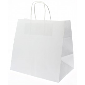 Paper Bag with Handles Kraft White 80g 26+17x24cm (250 Units)