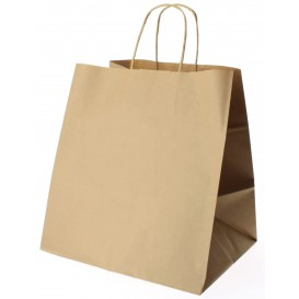 Paper Bag with Handles Kraft Brown 80g 30+18x29cm (200 Units)