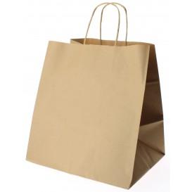 Paper Bag with Handles Kraft Brown 90g 26+20x27cm (250 Units)