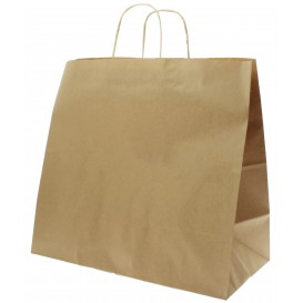 Paper Bag with Handles Kraft Brown 100g 35+15x30cm (25 Units)