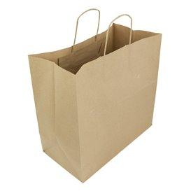 Paper Bag with Handles Kraft Brown 100g 35+15x30cm (200 Units)