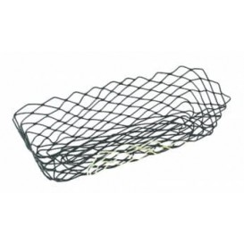 Basket Food Containers Steel Rectangular Shape Black 27,5x14,2x8,5cm (6 Units)
