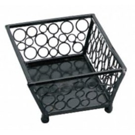 Basket Food Containers Steel Rectangular Shape Black 21x14x6,5cm (6 Units)