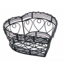 Serving Basket Containers Steel Heart Shape Black 18x18x9cm (6 Units)