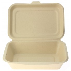 "Sugarcane Hinged Container ""Menu Box"" 17,5x12,5x5,3cm (50 Units)"