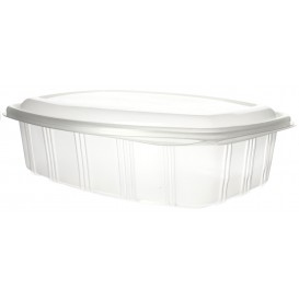 Plastic Hinged Deli Container Microwavable PP High Dome Lid 1500ml (25 Units)