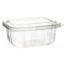 Plastic Hinged Deli Container PET High Dome Lid 370ml (50 Units)