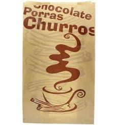 """Bolsa para Churros """"Chocolat"""" Kraft 18+7x32cm (250 Uds)"""