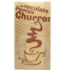 """Bolsa para Churros """"Chocolat"""" Kraft 22+11x36cm (1000 Uds)"""