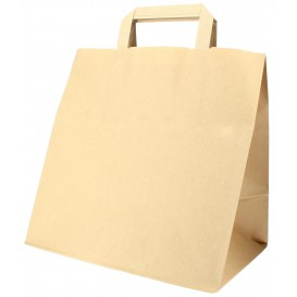 Paper Bag with Handles Kraft Flat 70g 26+18x26cm (50 Units)
