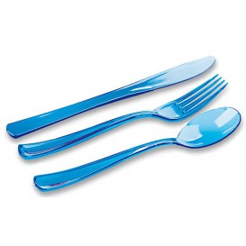 Plastic Cutlery Kit Fork, Knife, Spoon Turquoise (20 Kits)