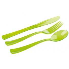 Plastic Cutlery Kit Fork, Knife, Spoon Green (20 Kits)