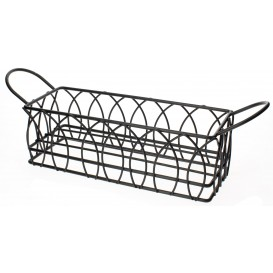 Basket Containers Steel Rectangular Shape Black 21x8x7cm (6 Units)