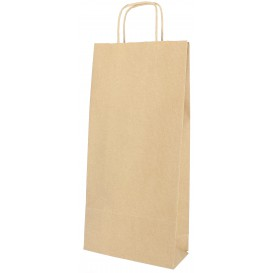 Paper Bottle Bag with Handles Kraft 18+8x39cm (50 Units)