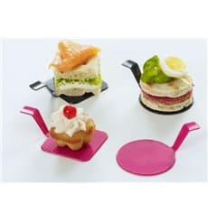 "Tasting Plastic Plate PS ""Gourmand"" Raspberry 4x4cm (50 Units)"