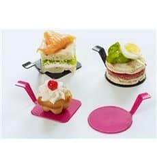 "Tasting Plastic Plate PS ""Gourmand"" Raspberry 4x4cm (600 Units)"