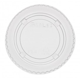 Plastic Lid PET Crystal Closed Flat Ø7,3cm (125 Units)