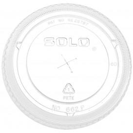 Plastic Lid with Straw Slot PET Crystal Flat Ø9,8cm (100 Units)