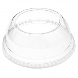 Plastic Dome Lid PET Crystal Single Opening Ø9,2cm (100 Units)