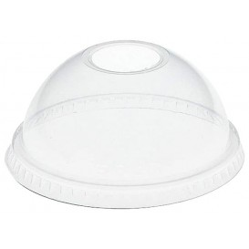 Plastic Dome Lid with Hole PET Crystal Ø9,8cm (100 Units)