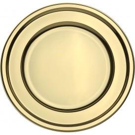 Plastic Plate PET Round shape Gold Ø23 cm (6 Units)