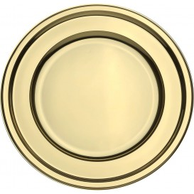 Plastic Plate PET Round shape Gold Ø23 cm (180 Units)