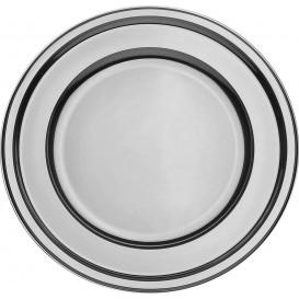 Plastic Plate PET Round shape Silver Ø23 cm (180 Units)