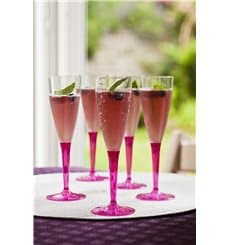 Plastic Stemmed Flute Sparkling Wine Raspberry 100ml (6 Units)