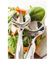 Cuchara y Tenedor De Plastico Para Ensaladas Plata (5 Uds)