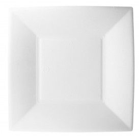 "Sugarcane Plate Square shape ""Nice"" White 18x18 cm (500 Units)"