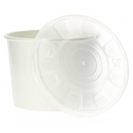Paper Container with Plastic Lid White PP 350ml (50 Units)