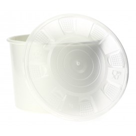 Paper Container with Plastic Lid White PP 488ml (25 Units)
