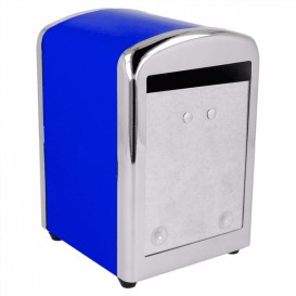 "Napkin Steel Dispenser ""Miniservis"" Blue 10,5x9,7x14cm (12 Units)"