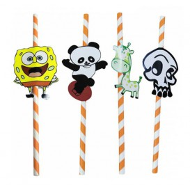"Paper Straw Straight ""Animales"" Design Ø0,6cm 24cm (100 Units)"