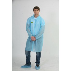 Disposable Lab Coat Visitor Guest TST PP Velcro Blue XL (200 Units)