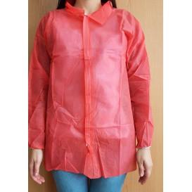 """Disposable Lab Coat """"Cadete"""" """"TST"""" PP Velcro 35gr Red (1 Unit)"""