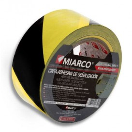Adhesive Safety Tape Roll Yellow/Black 5cmx33m (12 Units)
