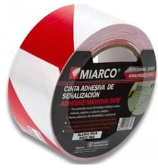 Adhesive Safety Tape Roll White/Red 5cmx33m (12 Units)